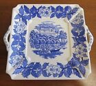 Antique Blue Castle Pattern on White China Two Handled Square Plate 6 3/4