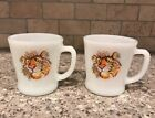 Set 2 Vtg Fire King Anchor Hocking Tiger Esso Exxon Promo Coffee Mug Cup Glass