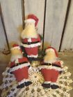 3 Primitive Grungy Old World Santa Christmas Winter