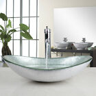 RE Bathroom Silver Oval Glass Vanity Basin Bowl Vessel Sink Mixer Chrome Faucet