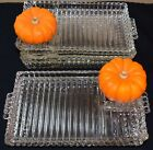 Vintage Hazel Atlas Ribbed Clear Glass Rectangle Plates 7 qty. Relish, Snack or
