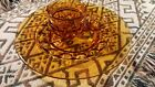 Vintage Indiana thumbprint Amber glass 6 party plates and cups EUC