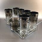 Vintage Silver Fade Set of 6 Tumblers, Coasters And Rack Caddy Carrier Thorpe