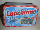 NEW Superman Lunchtime Salt  Pepper Shaker Set Vandor Metal Lunch Box Thermos