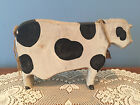 Primitive Country Folk Art Wood Cow with Bell