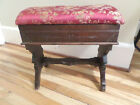 Antique Victorian Eastlake Sewing Piano /Organ Bench Stool w/Storage Seat c1880
