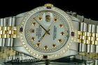 Rolex Men's 36mm Datejust 16013 Mother of Pearl Ruby Diamond Dial