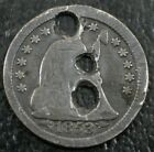 1853 Seated Liberty Half Dime ~ 3 Holes ~ Old Button?