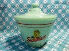Jadeite Green Glass Sunbeam Bread Girl Grease Jar and Lid in Excellent Condition