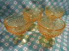 Vintage Yellow Hobnail Stemmed Desert Dishes in Excellent Condition x 4