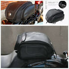 PU Leather Retro Style Motorcycle Rear Bag Tail Seat Riding Bag with Rain Cover