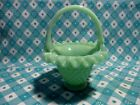 Jadeite Green Glass Small Hobnail Basket in Excellent Condition
