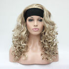 sexy cute blonde mix 3/4 wig with headband curly long women's synthetic half wig