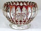 Vtg Indiana Glass LOTUS BLOSSOM Ruby Flash Cranberry Cupped Footed Rose Bowl