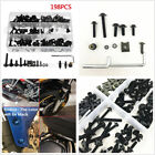 198Pcs Motorcycle Body Fairing Bolts Screws Retainer Push Pin Fastener Clips Kit