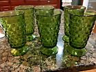 SET 6 INDIANA FOSTORIA GREEN WHITEHALL CUBIST FOOTED ICE TEA GLASSES TUMBLER 6