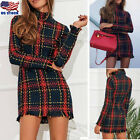 Womens Retro Tartan Mini Tunic Dress Tassel Bodycon Stretchy Check Plaid Dresses