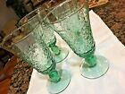 VINTAGE HOLIDAY 4 GREEN GLASSES CHRISTMAS TREE STEM ICE TEA BEVERAGE GLASS 7