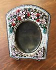 Antique c. 1900 Micro Mosaic Floral Picture Photo Easel Back Frame Italian
