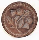 ANTIQUE WOODEN BUTTER MOLD. DOUBLE THISTLE. NO RESERVE!