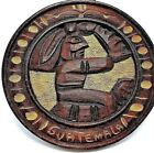 Hand Carved Guatemala Round Plaque Wood Wall Hanging Home Decor Aztec Ancient