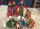 Large Fabric Christmas Nativity Set 9 Pieces 155 Inch Tall by Betsey Cavallo