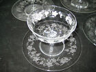 VINTAGE SUNDAE CUPS-SET 0F 4--PLATES-SERVING CUP-ETCHED GLASS-GRAPE PATTERN