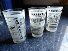 Hazel Atlas set of 3 frosted with black NB, NM, Marineland glassware