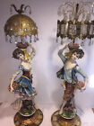 PICK UP NJ Huge Vintage Italian Floor Lamps Porcelain Crystal Maiden Man 62 63