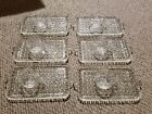 6 Vintage Clear Glass Diamond Pattern Snack/Luncheon/ Serving Trays and Cups