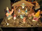 NICE Vintage 50s Chalkware Nativity Set Complete Hand Painted Japan