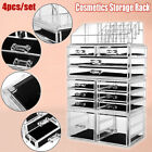 4Peices Set Clear Cosmetic Rack Makeup Organizer Storage Box Large Capacity