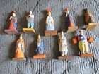 Korean Figurines Hand Carved and Hand Painted Wood Antique