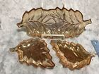 Vintage Peach Luster Leaf Nesting Dishes Mints Nuts Candy Trays Orange Carnival