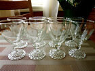 ANCHOR HOCKING (8) ETCHED CLEAR BUBBLE FOOT JUICE GLASSES