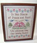Framed Colonial Linen Stitched Sampler in Wood Frame Welcome Guest Theme