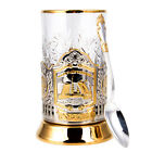 Gold Plated Glass Holder w Crystal Glass  Spoon Bascule Bridge St Petersburg
