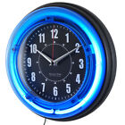 Neon Analog Wall Clock Retro Round Blue Light Glass Clock Den Man Cave Bedroom
