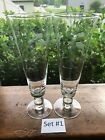 2 Etched Crystal Cut Wheat Pilsner Beer 8-3/8