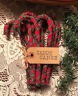 12 Christmas Tartan Plaid Homespun Fabric Candy Canes Primitive Ornaments A-69