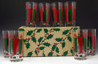 GREEN CHRISTMAS CANDLES Glass Tumblers Mint in Orig Box