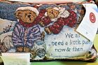 Boyds Bears Enjoy The Ride w/Aspen & Tahoe Christmas Tapestry Word Pillow