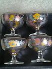 MID CENTURY GLASS PAINTED FLORAL DESIGN with GOLD RIM set of 4 STEMMED SHERBETS