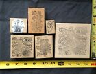 Floral Flower Wood Mounted Rubber Stamp Lot B
