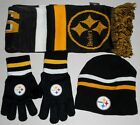 PITTSBURGH STEELERS KNIT WINTER HAT BEANIE GLOVES SCARF SET BOYS YOUTH 8-20 NWT