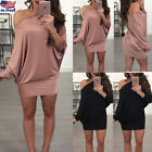 Women Ladies Long Sleeve Off The Shoulder Batwing Loose Casual Sweater Dress USA