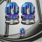 2x CNC Motorcycle Tire Accessories Valve Cap Wheel Decoration Cover Blue+Silver