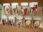 9 VINTAGE CHARLES DICKENS FROSTED GLASSES/Scrooge,Tiny Tim,Fagin,Oliver Twist...