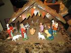 Vintage Hand Painted Nativity Set Italy Great Antique Look