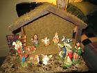 Vintage Paper Mache Nativity Set Hand Painted Italy Very Nice